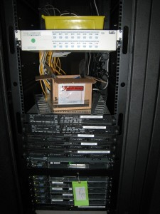 Front of the servers on a rack