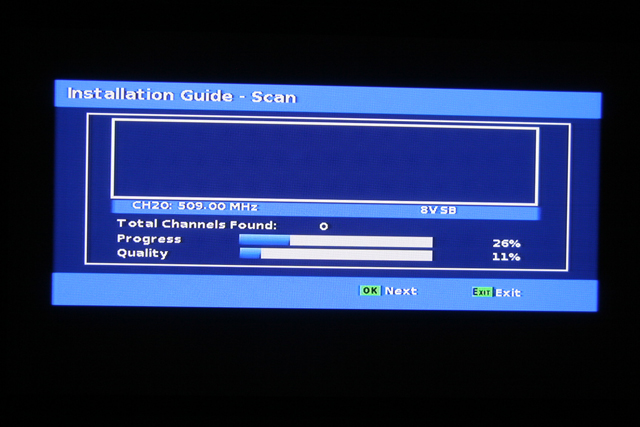 Sunkey SK-801 Channel Scan Screen